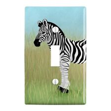 Zebra in Grasslands Plastic Wall Decor Toggle Light Switch Plate Cover