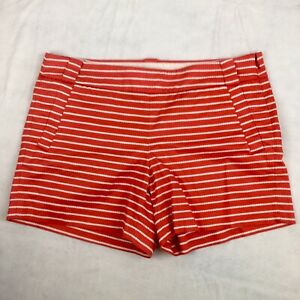 J. CREW Shorts Women's Size 8 (32) Stretch Red & White Striped Shorts