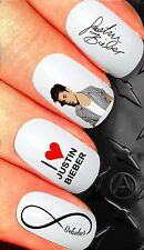 NAIL ART STICKERS WATER TRANSFERS DECALS JUSTIN BIEBER AUTOGRAPH LOVE BELIEBER