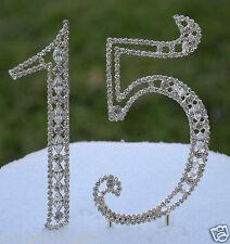 "5"" Rhinestone Silver Number Fifteen 15 Bling Cake Topper Birthday Anniversary"