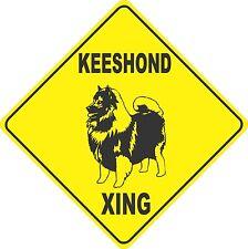 "15.5"" x 15.5"" plastic Keeshond sign xing Crossings animal dog"