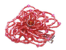 Charismatic Red Diamante & Red Beads/Chrome Grip & Pin Back Rose Brooch(Zx287)