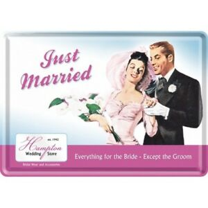 Tin Sign 10110 - Just Married - 3 7/8X5 1/2in - New