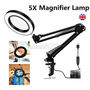 USB Magnifying Lamp/Light Daylight Magnifier 5X Desktop Table Work Bench Tattoo