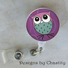 Purple Owl Badge Reel Retractable Holder Belt Clip ID RN Nurse Hospital Teacher
