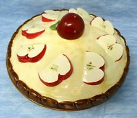 Apple Pie Dish Covered with Lid Stoneware Keeper Vintage Country Kitchen Decor