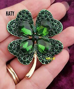 Lucky 4 Leaf Clover Vintage Art Deco Style Gold Irish Brooch Big Green Crystal