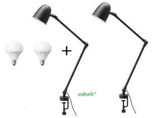 Set of 2 - IKEA SKURUP Work/wall lamp + 2 E12 LED Bulbs , black 103.260.22 - New