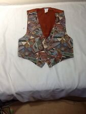 St700 Backroad Blues Women's Aviation Patterned Button-Down Vest Large