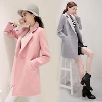 Elegant Trench Long Jacket Slim outerwear Womens Lapel breasted Wool Blend Coat