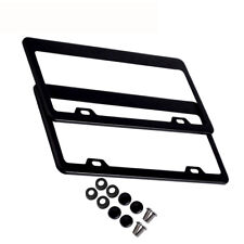 2pcs Stainless Steel Metal License Plate Frame Tag Cover Screw Caps Black