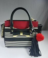 Betsey Johnson METAL BOW CROSSBODY (Small Satchel) BM19375 STRIPE, RED POM POM