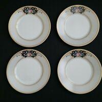 OSCAR DE LA RENTA Medallion Salad Plates-(set of 4) Floral Black Gold Fine China