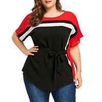 Women Lady Plus Size Batwing Short Sleeve Tie Belt Asymmetric T-shirt Blouse Top