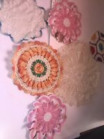 Beautiful Mixed Lot Of 6 Antique, Vintage Handmade Doilies Some stains
