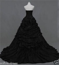 Black Strapless Taffeta Ball Gown Bridal Gown Gothic Wedding Dress Custom Size