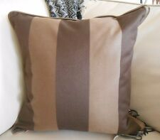 """PAIR NEW Large 48cm 19"""" Square Chocolate BROWN STRIPE Cushion Covers Piped trim"""