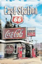 """Georg Huber Tin sign globetrotter Petrol station Route 66 Metal plate 8x12"""""""