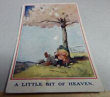 Vintage T Gilson little bit of Heaven card two children relaxing under tree B2