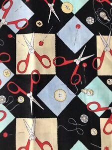 'SEW FUN!' scissors & button design high quality cotton craft fabric