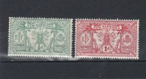 set of 2 mint GV stamps from New Hebrides. 1911. CV £5