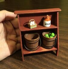 Bucket Bench By Sir Thomas Thumb Aged Painted Barn Red Dollhouse Miniatures