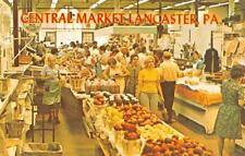 LANCASTER, PA Pennsylvania CENTRAL MARKET Produce Stand~Shoppers Chrome Postcard