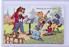 VINTAGE FRENCH DRESSED CATS MUSIC LESSONS PLAYING INSTRUMENTS #2002 POSTCARD