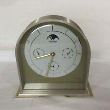 Sunbeam Lunar Moon Phase Mantel Shelf Clock, USA Gold-Tone Metal Case EXC!