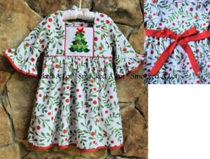 Smocked A Lot Girls Christmas Tree Holly Berry Red Green Dress Sleeves Santa