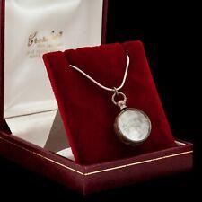 Antique Vintage Art Nouveau Sterling Silver Pool of Light Crystal Glass Necklace