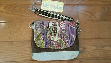 LOLA BLUE Crossbody Wristlet Clutch Boutique Bag Purple Brown Silver NWT Multi