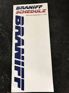 Braniff Airlines flight schedule timetable Sept 1984