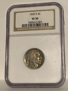 1926 S Buffalo Nickel Graded VF 30 by NGC