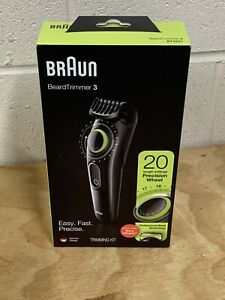 Braun Beard Trimmer 3 Precision Wheel 20 Length Settings BT3221 BLACK/GREEN