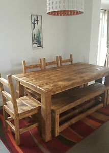 FARMHOUSE RUSTIC TABLE & BENCH SET - VARIOUS OPTIONS AVAILABLE - MADE TO MEASURE