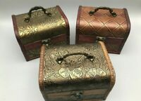 Rustic Wooden Boxes Colonial Style Trunk Treasure Chest Vintage Storage Hinged