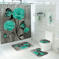 Green Flower Butterfly Shower Curtain Bathroom Anti-slip Carpet Rug Toilet Cover