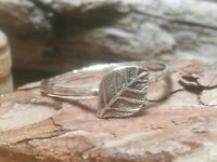 Sterling Silver Leaf Ring Handmade Boho Stacking Rock and Feather 925
