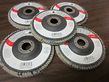 "5pc ALUMINUM OXIDE 40-GRIT 4"" SANDING GRINDING WHEEL FLAP DISC 5/8"" ARBOR ~ NEW"
