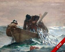 BOAT AT SEA HERRING FISHING W FULL NET OIL PAINTING ART REAL CANVAS GICLEE PRINT