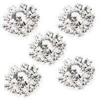 10Pcs 15mm Diamante Rhinestone Shank Buttons Flatback Sewing Decor DIY Craft Set