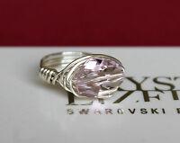 12mm Light Amethyst Cosmic Crystal Wrap Ring with Swarovski Crystal Elements