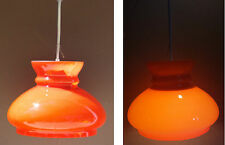 Suspension orange vintage luminaire lustre plafonnier verre ancien 70 #2