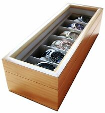 6 Slot Mens Solid Light Wood Watch Box Display Jewelry Organizer Glass Top Case