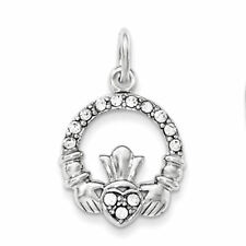 Sterling Silver Claddagh Charm with CZ