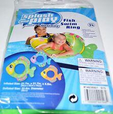 POOL SUMMER SPLASH N PLAY FISH SWIM RING--GREEN  AGE 3-6