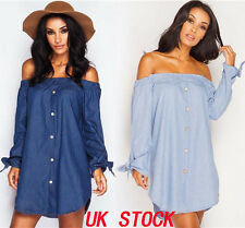 UK WOMENS LADIES OFF THE SHOULDER BUTTON DENIM LOOK SHIRT DRESS TOP 8-18