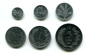 Turkey 1, 5, 10, 25 & 50 Kurus & 1, 5 Lira 1975 KM-895b 907 908 899 889a 905 (6)