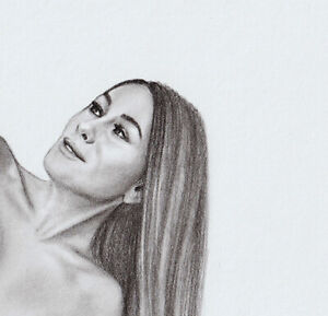 Original pencil Drawing #112, NU Female figure, Woman graphite drawing